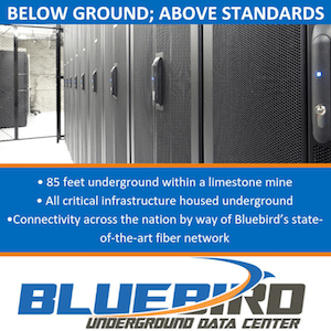 Bluebird Underground Data Center Services and Colocation Racks